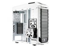 "CM Storm Stryker, black and white design with mesh front panel, 90 degree rotatable 5.25""/3.5"" Combo Cages, two USB 3.0, 9+1 expansion slots , fan speed control, Supports the latest long graphics cards Transparent side panel included"