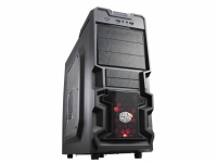 K380, Mesh and honeycomb vent on front panel for superior cooling, Supports up to 4 fans. One silent 120mm red LED fan included, Super speed USB 3.0 port, 7 HDD bays (3 tool-less), Supports high-end graphics cards, Side panel included