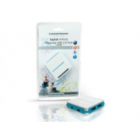 HUB EXTERNO USB 2.0 COM 4X PUERTOS (COMPATIBLE USB 1.1) COR AZUL - INCLUI ADAPTADOR DE CORRENTE